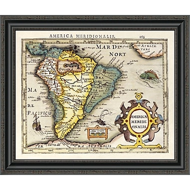 East Urban Home 'Map of South America' Framed Print; 22'' H x 26'' W x 1.5'' D