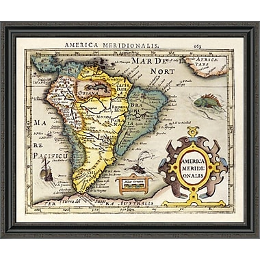 East Urban Home 'Map of South America' Framed Print; 28'' H x 34'' W x 1.5'' D
