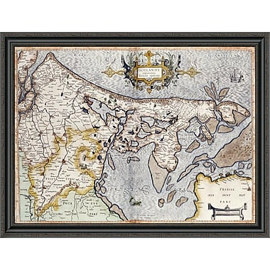 East Urban Home 'Map of Holland' Framed Print; 30'' H x 40'' W x 1.5'' D
