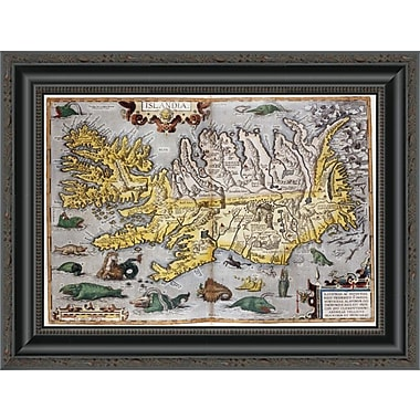 East Urban Home 'Hand Colored Map of Iceland' Framed Print; 15'' H x 20'' W x 1.5'' D