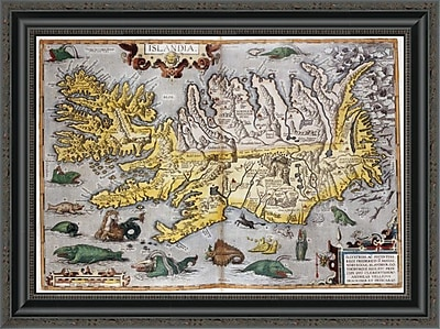 East Urban Home 'Hand Colored Map of Iceland' Framed Print; 19'' H x 26'' W x 1.5'' D