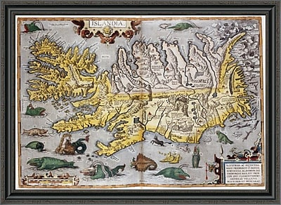 East Urban Home 'Hand Colored Map of Iceland' Framed Print; 29'' H x 40'' W x 1.5'' D