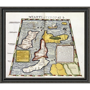 East Urban Home 'Map of Britain' Framed Print; 29'' H x 34'' W x 1.5'' D