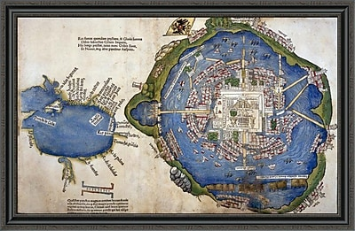 East Urban Home 'Gulf of Mexico and Mexico City' Framed Print; 29'' H x 44'' W x 1.5'' D