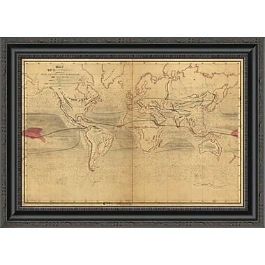 East Urban Home 'World Winds in Navigation' Framed Print; 15'' H x 26'' W x 1.5'' D
