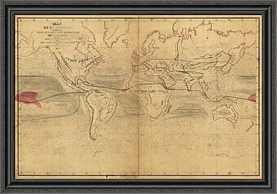 East Urban Home 'World Winds in Navigation' Framed Print; 22'' H x 40'' W x 1.5'' D