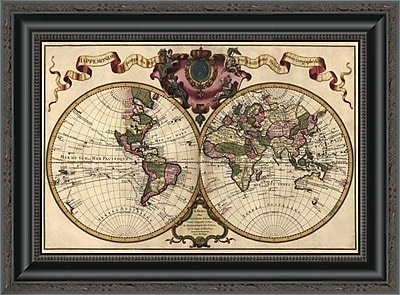 East Urban Home 'World Map Prepared For Then French King' Framed Print; 15'' H x 20'' W x 1.5'' D