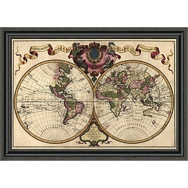 East Urban Home 'World Map Prepared For Then French King' Framed Print; 24'' H x 34'' W x 1.5'' D