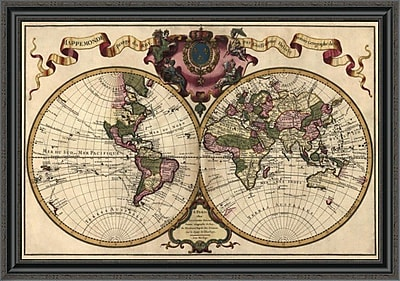 East Urban Home 'World Map Prepared For Then French King' Framed Print; 28'' H x 40'' W x 1.5'' D