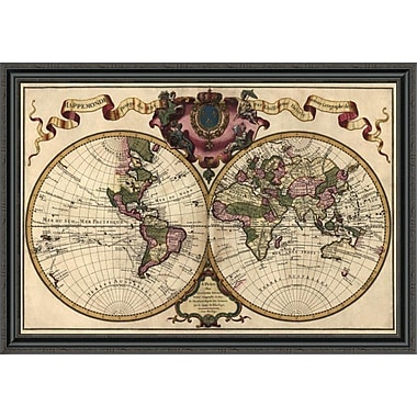 East Urban Home 'World Map Prepared For Then French King' Framed Print; 31'' H x 44'' W x 1.5'' D