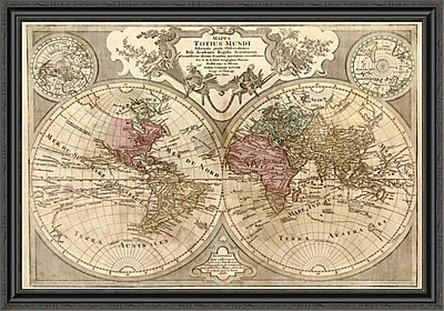 East Urban Home 'World Map Prepared For Then French King' Framed Print; 15'' H x 44'' W x 1.5'' D