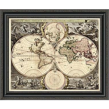 East Urban Home 'World Map' Framed Print; 24'' H x 26'' W x 1.5'' D