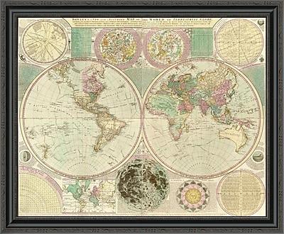 East Urban Home 'World Map' Framed Print; 28'' H x 34'' W x 1.5'' D