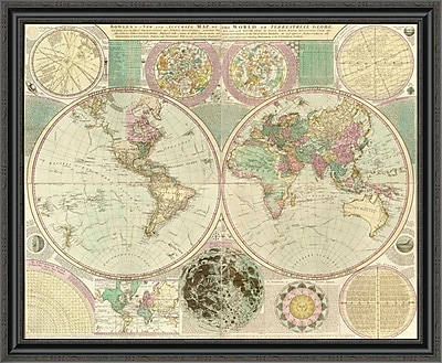 East Urban Home 'World Map' Framed Print; 31'' H x 40'' W x 1.5'' D