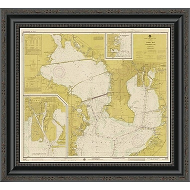 East Urban Home 'Nautical Chart - Tampa Bay - Northern Part CA. 1975 - Sepia Tinted' Framed Print