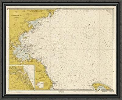 East Urban Home 'Nautical Chart - Massachusetts Bay CA. 1970 - Sepia Tinted' Framed Print
