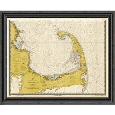 East Urban Home 'Nautical Chart - Cape Cod Bay CA. 1970 - Sepia Tinted' Framed Print