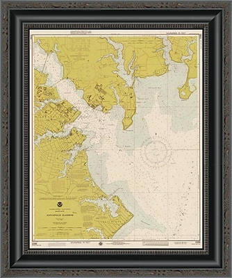 East Urban Home 'Nautical Chart - Annapolis Harbor CA. 1975 - Sepia Tinted' Framed Print