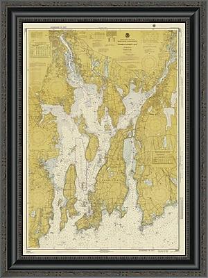 East Urban Home 'Nautical Chart - Narragansett Bay CA. 1975 - Sepia Tinted' Framed Print