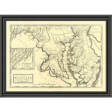 East Urban Home 'State of Maryland; 1795' Framed Print; 15'' H x 40'' W x 1.5'' D