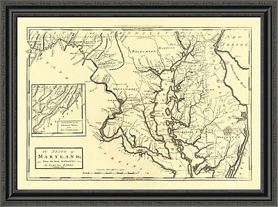 East Urban Home 'State of Maryland; 1795' Framed Print; 38'' H x 34'' W x 1.5'' D