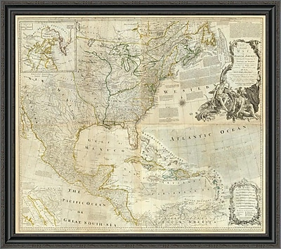 East Urban Home 'Composite: North America; 1776' Framed Print; 19'' H x 40'' W x 1.5'' D
