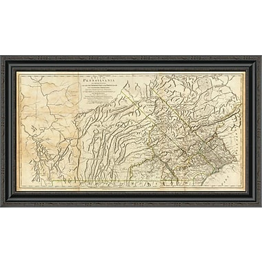 East Urban Home 'Map of Pennsylvania; 1776' Framed Print; 14'' H x 34'' W x 1.5'' D