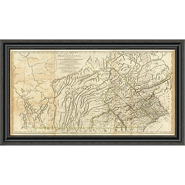 East Urban Home 'Map of Pennsylvania; 1776' Framed Print; 18'' H x 40'' W x 1.5'' D