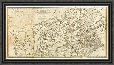 East Urban Home 'Map of Pennsylvania; 1776' Framed Print; 18'' H x 40'' W x 1.5'' D