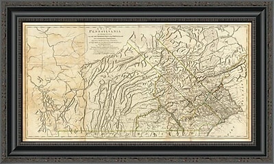 East Urban Home 'Map of Pennsylvania; 1776' Framed Print; 35'' H x 26'' W x 1.5'' D
