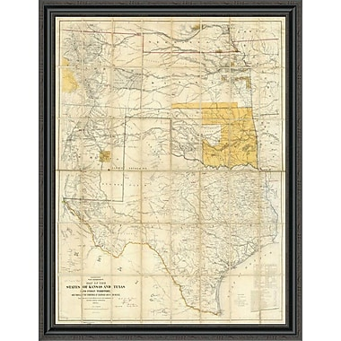 East Urban Home 'Map of the States of Kansas and Texas and Indian Territory; 1867' Framed Print