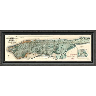 East Urban Home 'Sanitary & Topographical Map of the City and Island of New York; 1865' Framed Print