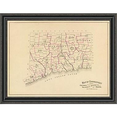 East Urban Home 'Connecticut: Senatorial Districts; 1893' Framed Print; 20'' H x 34'' W x 1.5'' D