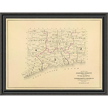 East Urban Home 'Connecticut: Congressional Districts; 1893' Framed Print; 18'' H x 40'' W x 1.5'' D
