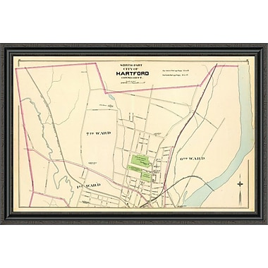 East Urban Home 'Connecticut: Hartford; North; 1893' Framed Print; 28'' H x 44'' W x 1.5'' D
