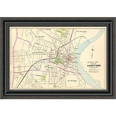 East Urban Home 'Connecticut: Hartford; Central; 1893' Framed Print; 15'' H x 26'' W x 1.5'' D