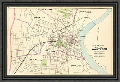 East Urban Home 'Connecticut: Hartford; Central; 1893' Framed Print; 24'' H x 40'' W x 1.5'' D