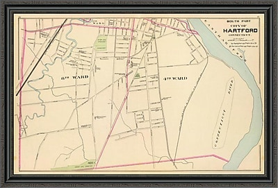 East Urban Home 'Connecticut: Hartford; South; 1893' Framed Print; 31'' H x 44'' W x 1.5'' D