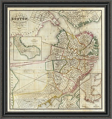 East Urban Home 'Plan of Boston Comprising a Part of Charlestown and Cambridge; 1846' Framed Print