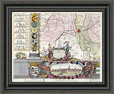 East Urban Home 'Large Wall Map of Groningen. W. & F' Framed Print; 16'' H x 20'' W x 1.5'' D