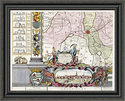 East Urban Home 'Large Wall Map of Groningen. W. & F' Framed Print; 21'' H x 26'' W x 1.5'' D