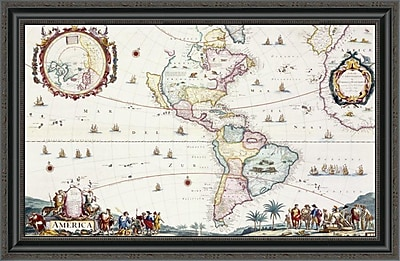 East Urban Home 'Map of the Americas; 1696' Framed Print; 22'' H x 34'' W x 1.5'' D