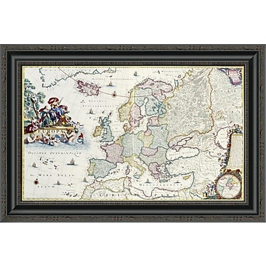 East Urban Home 'Map of Europe' Framed Print; 17'' H x 26'' W x 1.5'' D