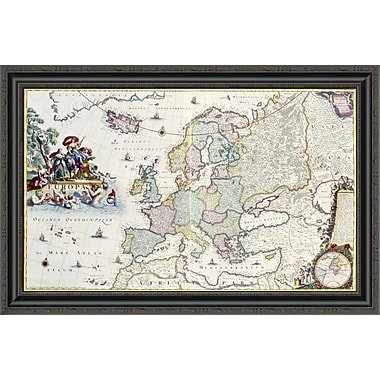 East Urban Home 'Map of Europe' Framed Print; 22'' H x 34'' W x 1.5'' D