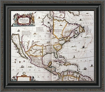 East Urban Home 'Map of North America; 1641' Framed Print; 18'' H x 20'' W x 1.5'' D
