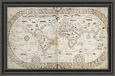 East Urban Home 'Portolan Atlas of the World' Framed Print; 22'' H x 34'' W x 1.5'' D