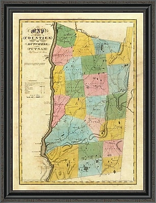 East Urban Home 'New York - Dutchess; Putnam Counties; 1829' Framed Print; 21'' H x 26'' W x 1.5'' D