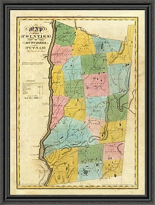 East Urban Home 'New York - Dutchess; Putnam Counties; 1829' Framed Print; 31'' H x 33'' W x 1.5'' D