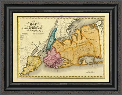 East Urban Home 'New York; Queens; Kings; Richmond Counties; 1829' Framed Print