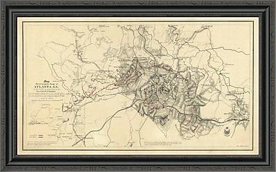 East Urban Home 'Civil War Map Illustrating the Siege of Atlanta; Georgia; 1864' Framed Print
